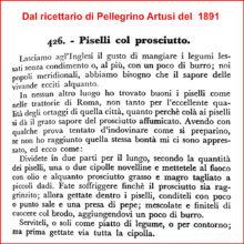 Piselli stufati col prosciutto, la ricetta di Pellegrino Artusi del 1891