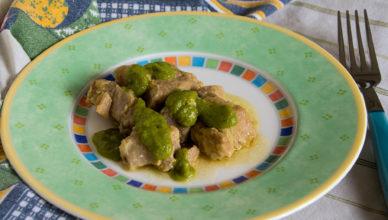 Stufato di maiale al brandy in salsa di asparagi
